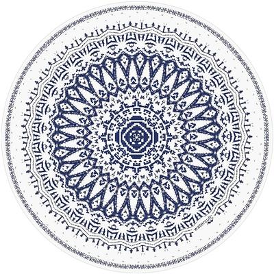 Serviette de plage ronde motifs bleu Summer Solids