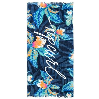 Serviette de plage bleue marine à fleurs Tropic Tribe
