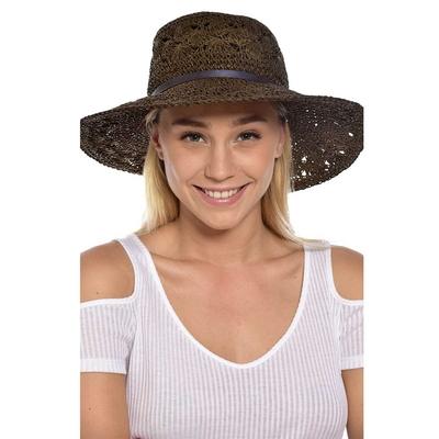 Chapeau de plage effet paille marron foncé Hatsy