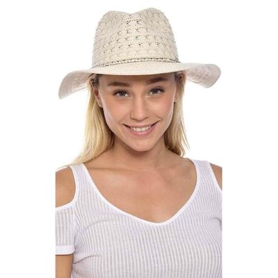 Chapeau de plage beige effet dentelé tressé Hatsy