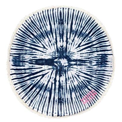 Serviette de plage ronde blanche imprimé tie and dye bleu Roundie
