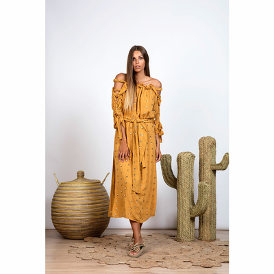 Robe de plage longue jaune safran Gemma