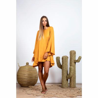 Robe de plage jaune safran à pompons rose Indiana