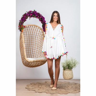 Robe de plage blanche à pompons multicolores Olga