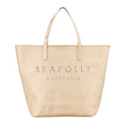 Sac de plage rose gold logo Seafolly Carried Away