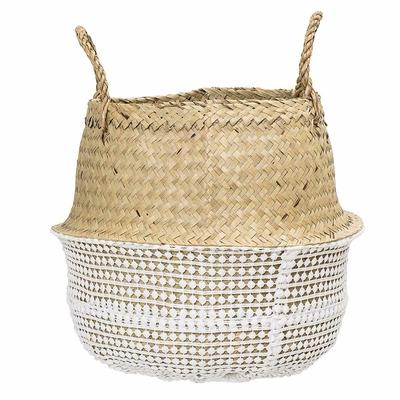 Panier décoratif rond en osier effet crochet blanc