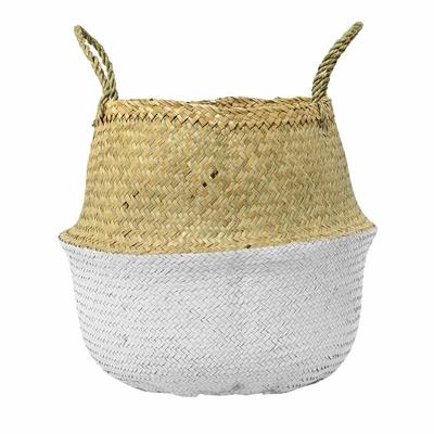 Panier décoratif rond bicolore blanc et osier