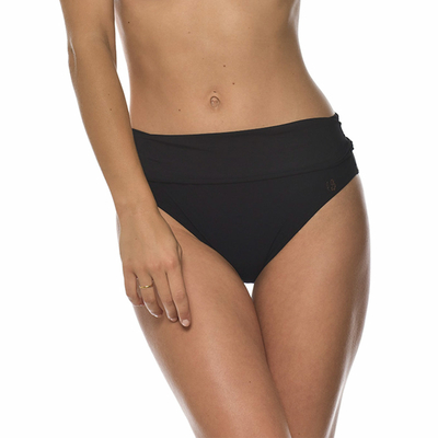 Maillot de bain culotte taille haute noire Black (Bas)
