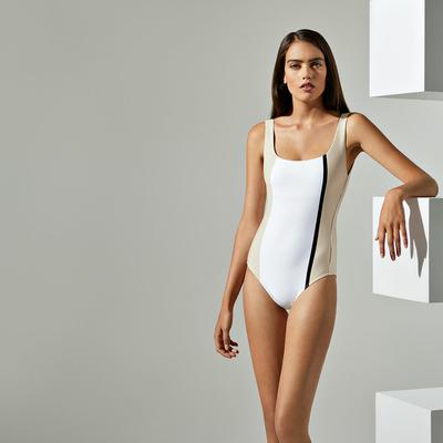 Maillot de bain une pièce nageur blanc à rayures Nahia