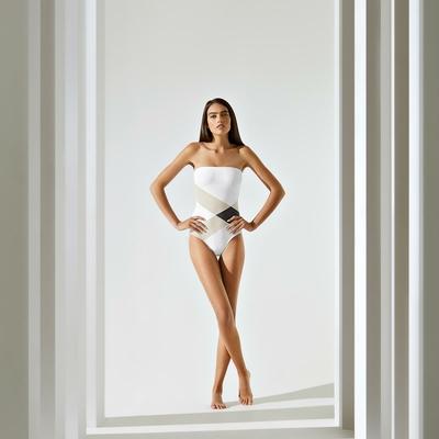 Maillot de bain une pièce bustier blanc imprimé géométrique Socoa