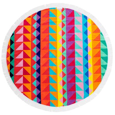 Serviette de plage ronde multicolore à franges Tangalle
