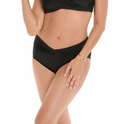 Maillot de bain culotte taille haute gainante noire Mid Rise (Bas)