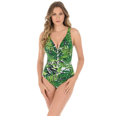 Maillot une pièce amincissant imprimé tropical vert Charmer