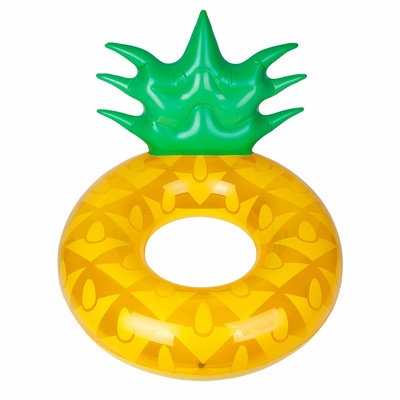 Bouée ronde gonflable jaune Ananas