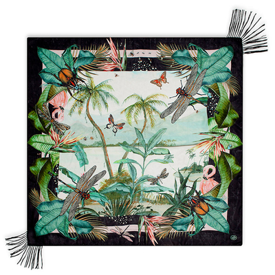 Foulard noir imprimé mulitcolore JUNGLE