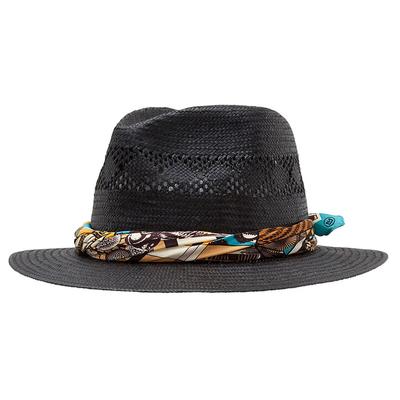 Chapeau de paille Feodora noir et foulard CASTILLE