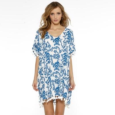 Tunique blanche imprimé bleu Summer Solids