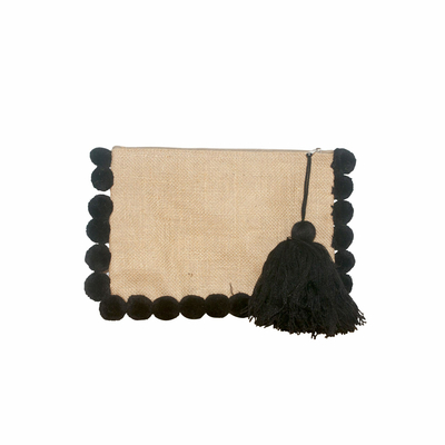 Pochette à pompons noirs