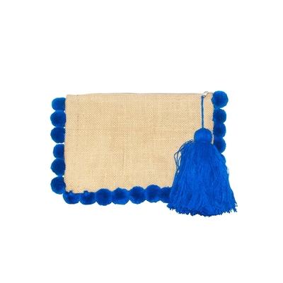 Pochette à pompons bleus