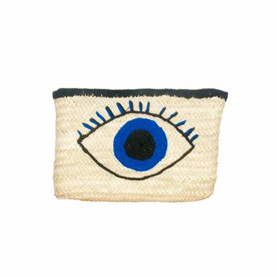 Pochette en osier motif oeil bleu