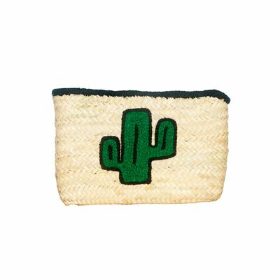 Pochette en osier motif cactus vert