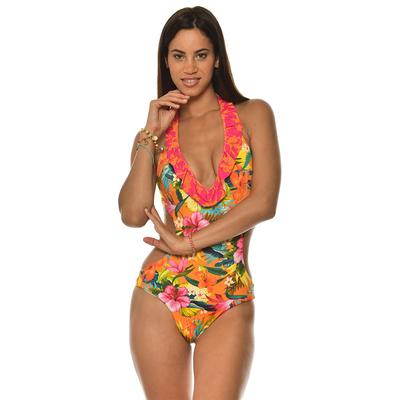 Maillot de bain une pièce trikini orange à fleurs Tropisun