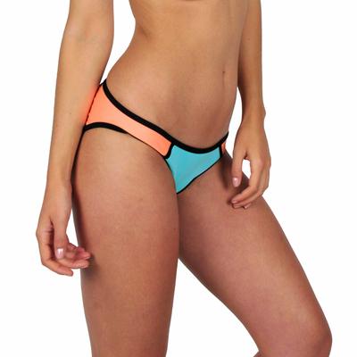 Mon Bikini Neoprene bleu néon et corail (Bas)