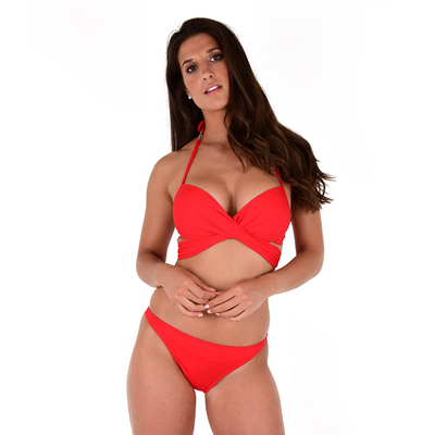 Maillot de bain 2 pièces cache-coeur rouge fluo Unicool