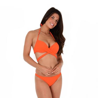 Maillot de bain 2 pièces cache-coeur orange Unicool