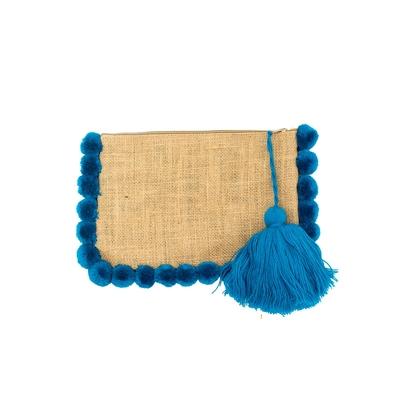 Pochette à pompons bleu turquoise