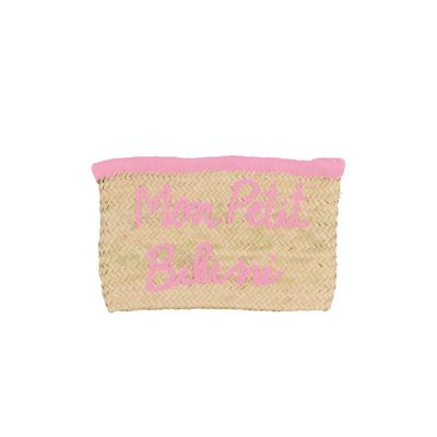 Pochette en osier Monpetitbikini rose