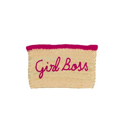 Pochette en osier Girl Boss rose fushia