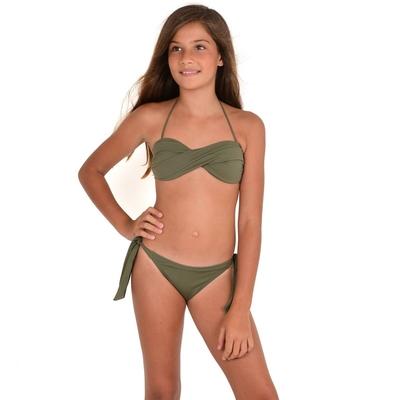 Mon Mini Twist Bikini vert kaki 2 pièces fille