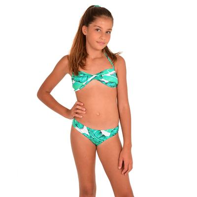 Maillot de bain 2 pièces enfants motif palmier vert