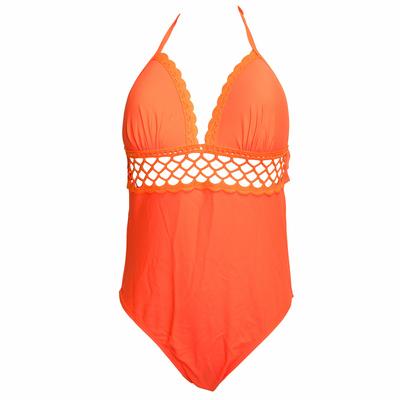 Maillot de bain une pièce triangle orange fluo