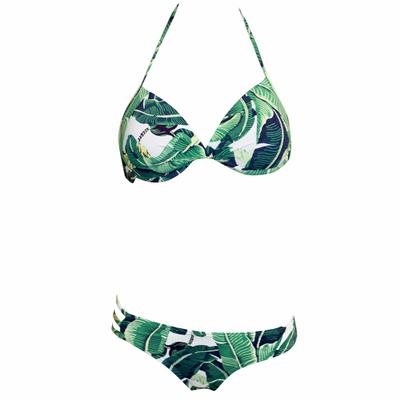 Maillot deux pièces push-up à motif feuille verte