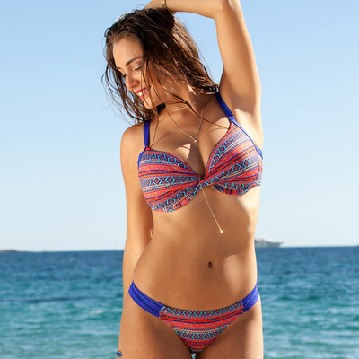Maillot de bain 2 pièces push-up rouge bonnet D Palaos