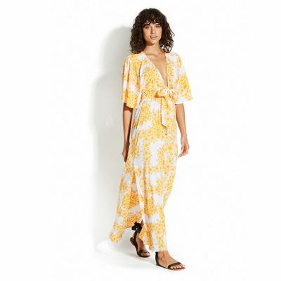 Robe longue jaune imprimé Sunflower