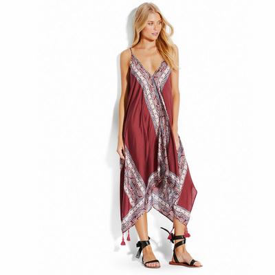 Robe de plage bordeaux longue inspiration foulard