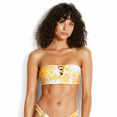 Haut de maillot de bain bandeau jaune Sunflower