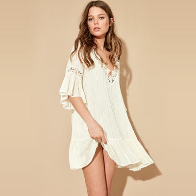 Robe manches courtes Blanc Kalli