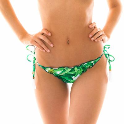 Bas de maillot de bain Tanga Vert anis Folhagem
