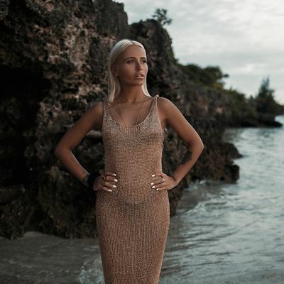 Robe de plage filet rose gold Sunset dress