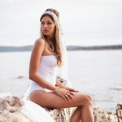 Maillot de bain une pièce bustier blanc Bianca