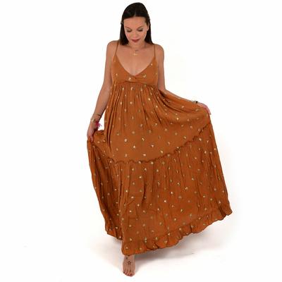 Robe longue camel détails sequins Ebene