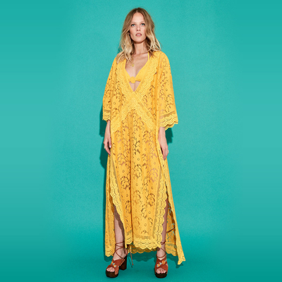 Robe manches longues jaune Icone