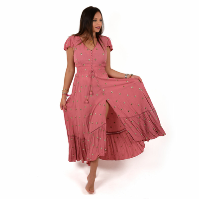 Robe de plage rose manches courtes à sequins Lady