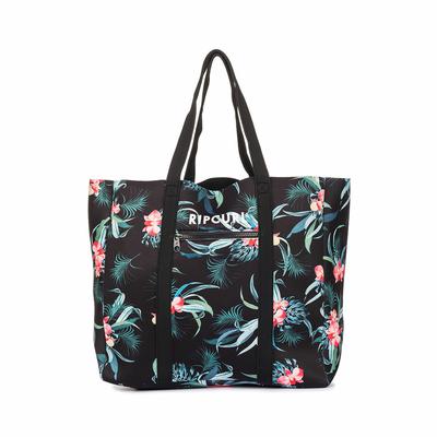 Sac de plage Noir à fleurs Neo