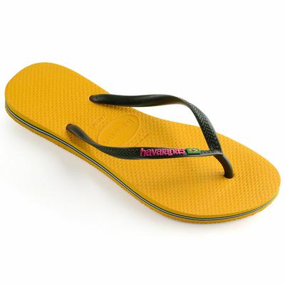 Tongs jaunes Slim Brasil Logo