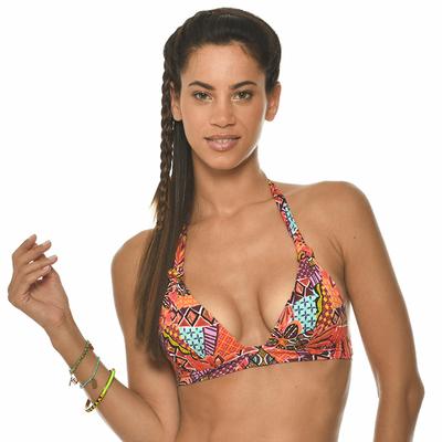 Haut maillot de bain triangle push up orange Hapo Havana